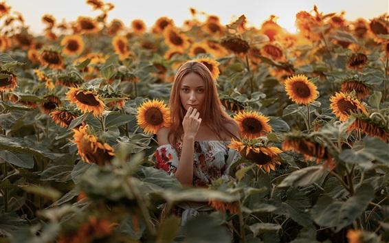 Wallpaper Blonde girl in the sunflowers field