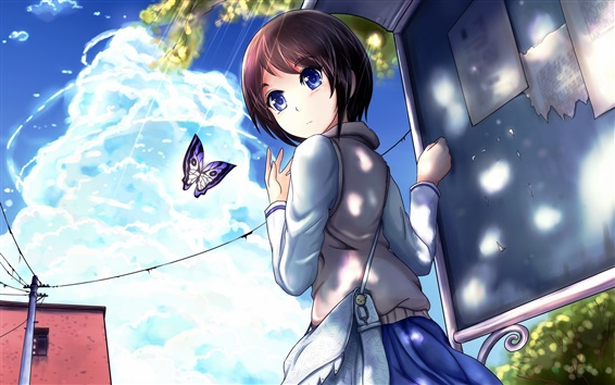Wallpaper Blue eyes anime girl look back, butterfly, street, clouds