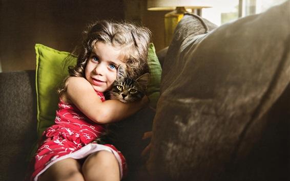 Fond d'écran Yeux bleus petite fille et chat