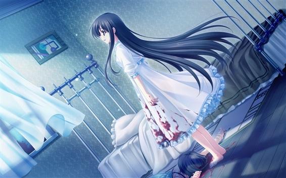 Wallpaper Blue hair anime girl, room, blood