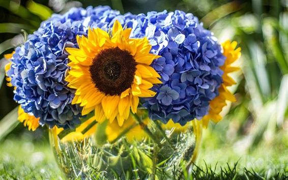Wallpaper Blue hydrangeas and sunflowers
