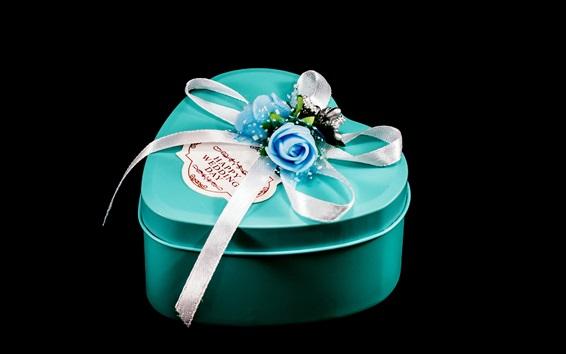 Wallpaper Blue love heart gift box