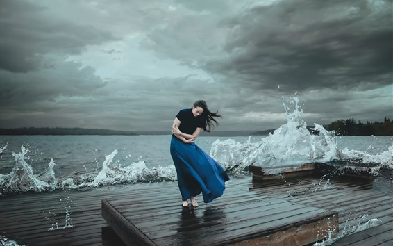 Wallpaper Blue skirt girl, sea, waves, coast, wind