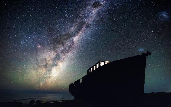 Wallpaper Boat, stars, starry, night