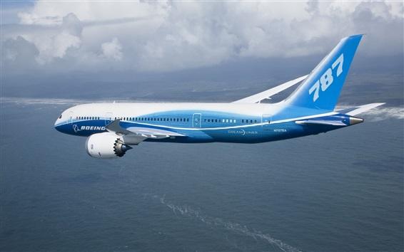 Wallpaper Boeing 787 plane flying, sea