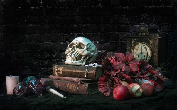 Wallpaper Books, skull, apples, flowers