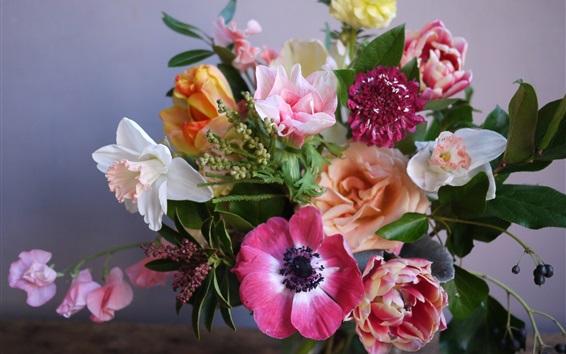 Fond d'écran Bouquet, fleurs colorées, anémone, narcisse, tulipes