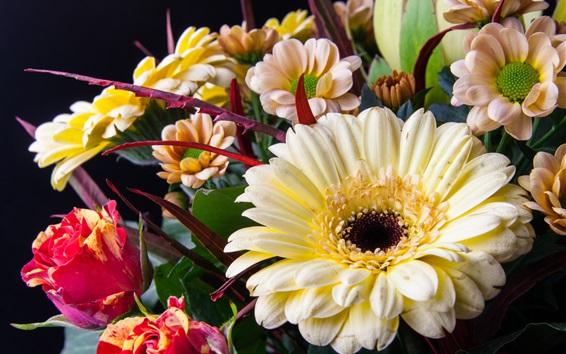 Fondos de pantalla Ramo, flores, rosa, crisantemo, gerbera