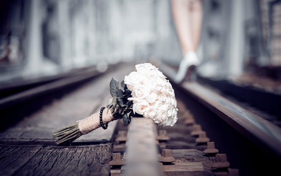 Wallpaper Bouquet, rose, railroad