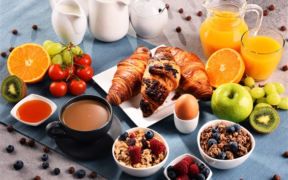 Papéis de Parede Pequeno-almoço, croissants, muesli, café, leite, suco de laranja, maçãs