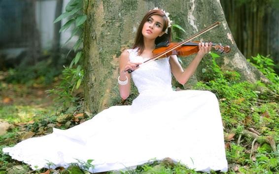 Wallpaper Bride play violin, white skirt