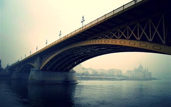 Fond d'écran Budapest, pont, rivière, ville, matin