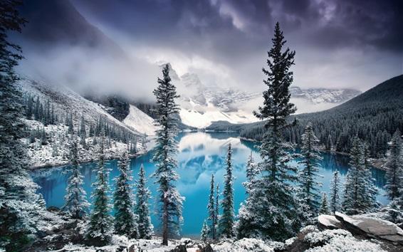 Обои Канада, Национальный парк Банф, озеро, деревья, горы, снег, зима
