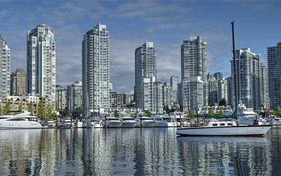 Papéis de Parede Canadá, vancouver, columbia britânica, Yaletown, porto, iates, edifícios cidade