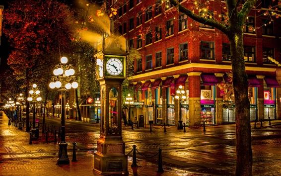 Wallpaper Canada, Vancouver, street, night city, big clock, lights