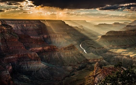 Wallpaper Canyon, sky, clouds, dusk, sun rays, USA