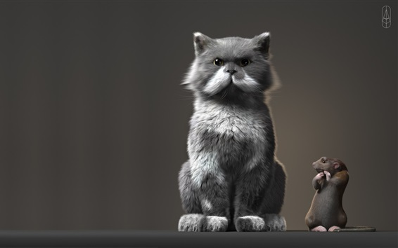 Обои Кот и мышь стоят вместе