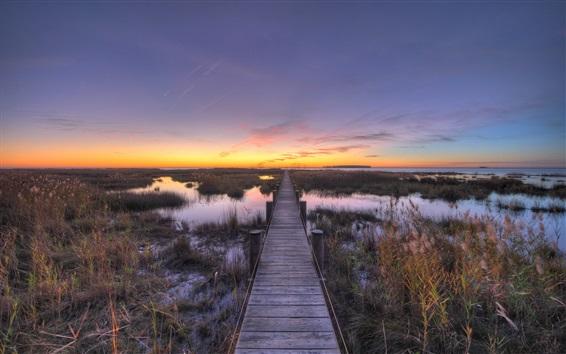 Fond d'écran Chesapeake, chemin en bois, baie, coucher de soleil