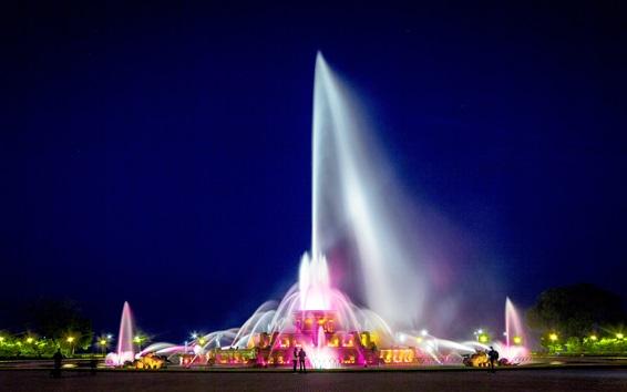 Wallpaper Chicago, Buckingham Fountain, illumination, night, beautiful, USA