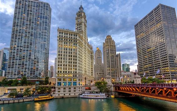 Papéis de Parede Chicago, Cityfront, centro, arranha-céus, ponte, navios, eua