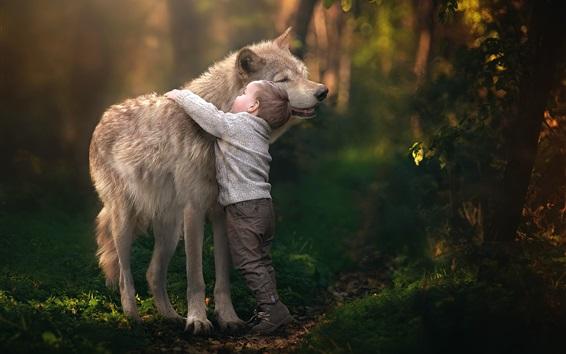 Fond d'écran Enfant garçon câlin loup, amitié