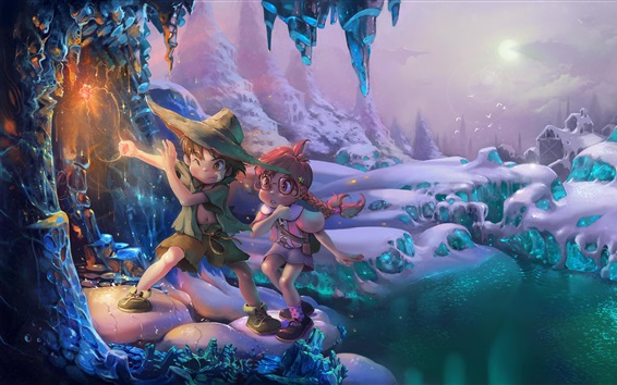 Wallpaper Child, girl and boy, snow, winter, magic, art picture