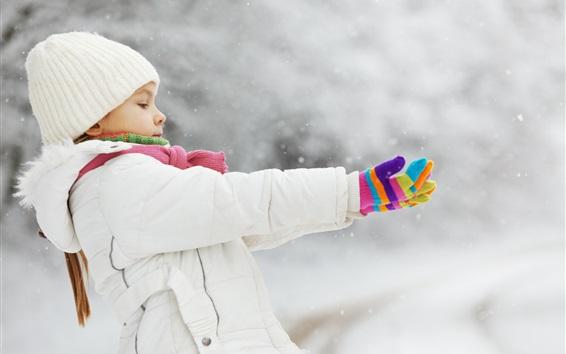 Wallpaper Child girl in winter, coat, hat, glove, snow