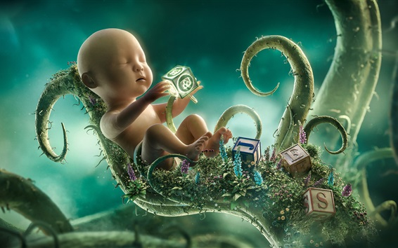 Wallpaper Childhood, baby, training, growth, plants, Desktopography design