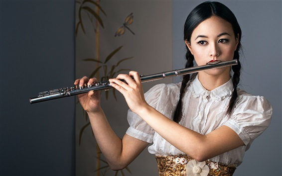 Wallpaper Chinese girl play flute, braid