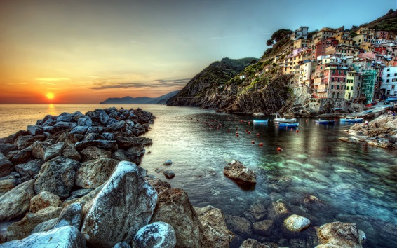 Wallpaper Cinque Terre, Italy, rocks, stones, sea, boats, houses, sunset