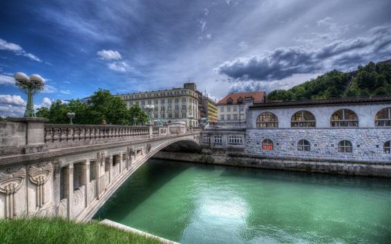 Wallpaper City, river, bridge, houses, clouds