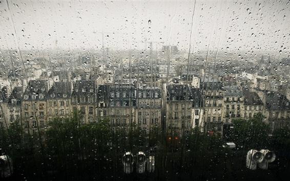 Fond d'écran Ville, fenêtres, verre, gouttes d'eau, jour de pluie