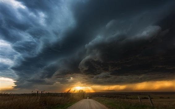 Papéis de Parede Nuvens, estrada, pôr do sol, anoitecer