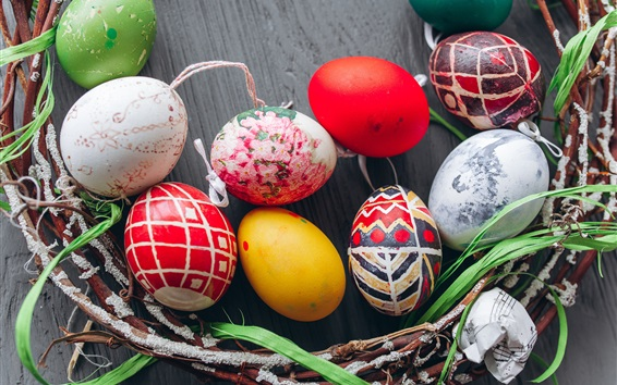 Wallpaper Colorful Easter eggs, twigs, holiday