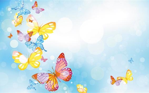 Papéis de Parede Borboletas coloridas, círculos, fundo azul