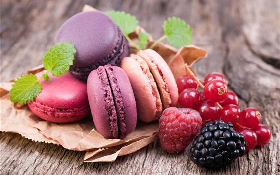 Wallpaper Colorful macaroon, currants, raspberry, blackberry