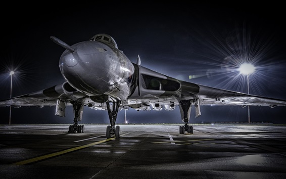 Wallpaper Combat aircraft front view, airport, night