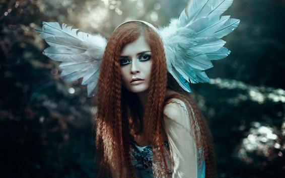 배경 화면 곱슬 머리 소녀, 날개, 예술 사진