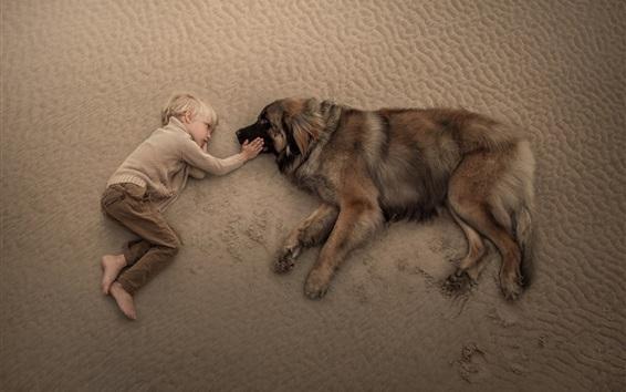 Wallpaper Cute child boy and dog lying on beach