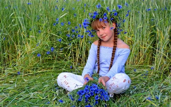 Wallpaper Cute child girl, blue flowers, grass