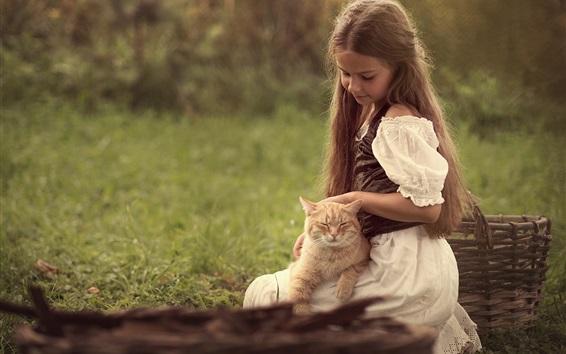 Wallpaper Cute little girl and cat