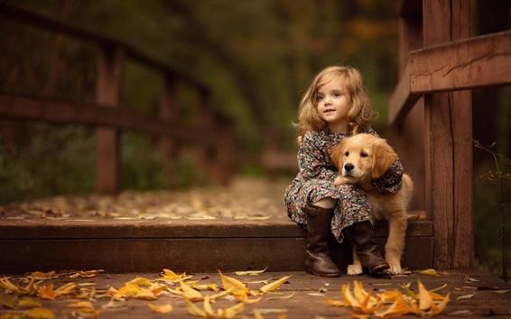 Fond d'écran Mignonne petite fille et retriever, chiot, automne, feuilles