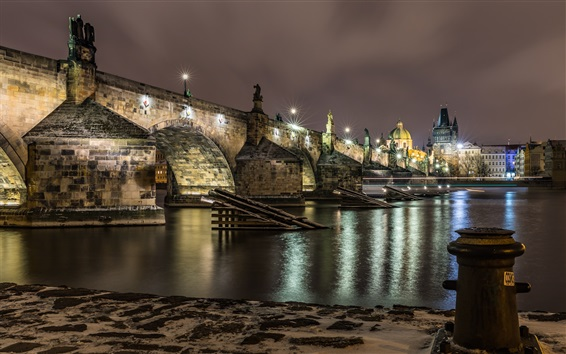 Wallpaper Czech Republic, Prague, bridge, river, lights, night