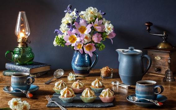 Wallpaper Daffodils, tulips, lamp, coffee, cupcakes, books