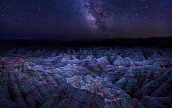 Fond d'écran Danxia Forme de relief, montagnes, nuit, étoiles, Chine