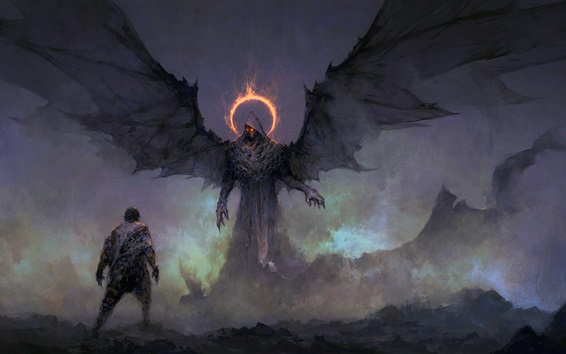 Wallpaper Darkness, monster, wings, art painting