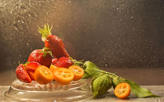 Wallpaper Delicious strawberry, fruit, lime, water drops