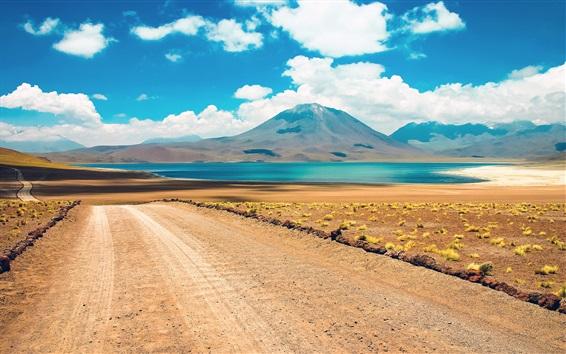 Fond d'écran Désert, montagne, route, lac, Atacama, Chili
