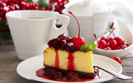 Wallpaper Dessert, cake, cherry, coffee