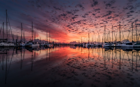 Wallpaper Dock, yachts, red sky, sunset, lake